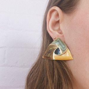 1980s statement neutral gold metal earrings